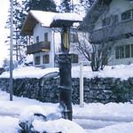 Bavarian fountain in a small village near Garmisch